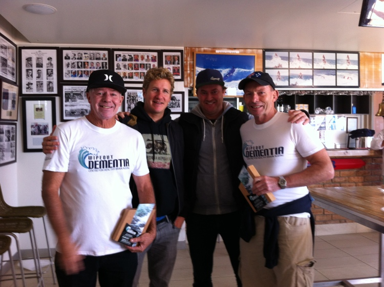 "Wayne ""Rabbit"" Bartholomew, Steve Harrison, Tony Abbott at the Queenscliff Life Saving Club"